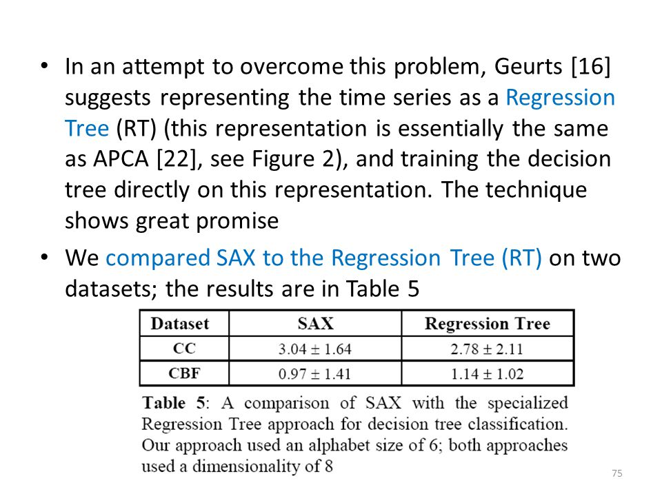 In an attempt to overcome this problem, Geurts [16] suggests representing the time series as a Regression Tree (RT) (this representation is essentially the same as APCA [22], see Figure 2), and training the decision tree directly on this representation. The technique shows great promise